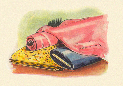 Aquarell: 3 verschiedene Seidenstoffballen ~1950, FR