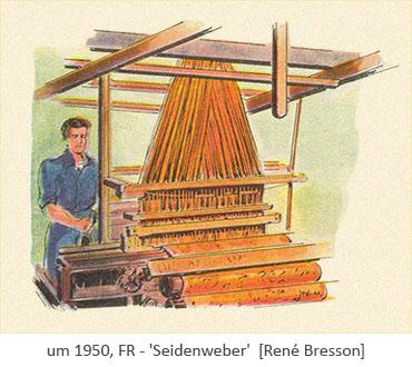 Aquarell: Seidenweber beim Weben ~1950, FR