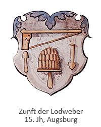 Aquarell: Karde und Schlägel auf lila Wappenschild - 15. Jh, Augsburg