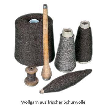 Farbfoto: Wollgarn aus frischer Schurwolle auf Spulen