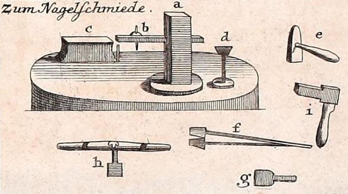 Abb. Werkzeuge des Nagelschmieds