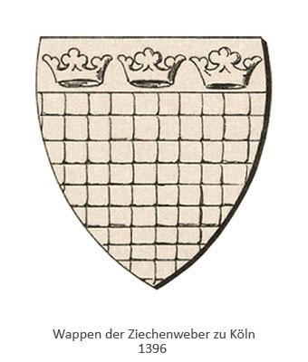 Zeichnung: Zunftwappen der Kölner Ziechenweber von 1396