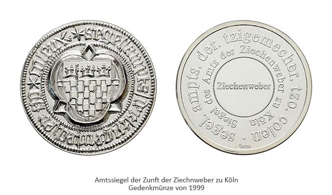 Farbfoto: silberne Gedenkmünze von 1999 mit Amtssiegel der Kölner Ziechenweber