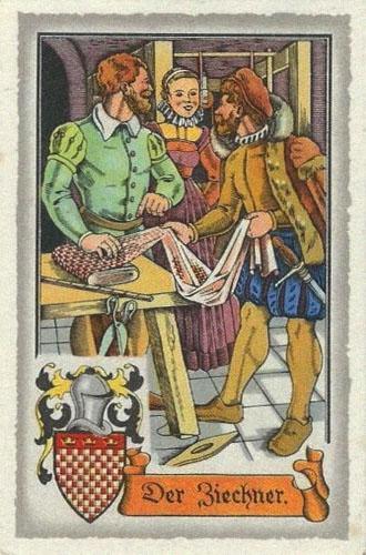 Sammelbild: Ziechenweber mit Bettzeug, Elle und Kundschaft~1575