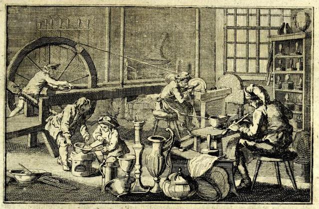 alter Stich: in der Zinngießerwerkstatt