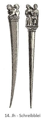 Zeichnung: ein Schreibblei mit kantigem und eins mit rundem Querschnitt - 14. Jh
