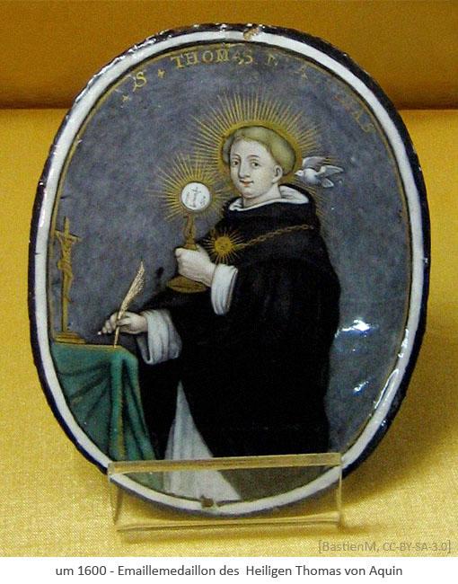 Farbfoto: Emaillemedaillon des Thomas von Aquin mit Schreibfeder ~1600, FR