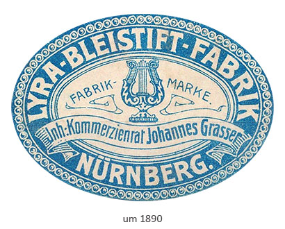 Farbfoto: ovale Siegelvignette der Lyra-Bleistift-Fabrik ~1890, Nürnberg