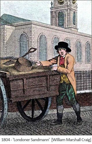 kolorierter Stich: Londoner Sandmann - 1804