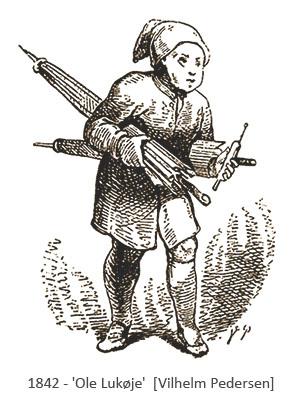 Zeichnung: Illustration zum Märchen 'Ole Lukøje' - 1842