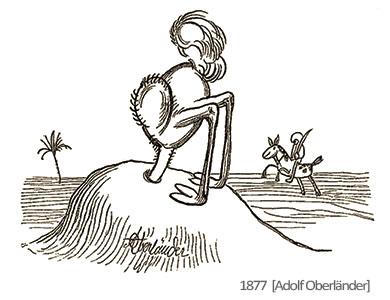 Zeichnung: Vogel Strauß steckt mit Kopf im Sand - 1877