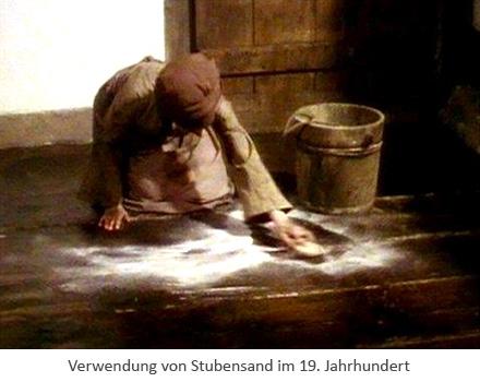 Gemäldeausschnitt: knieende Frau kehrt Stubensand auf - 19. Jh