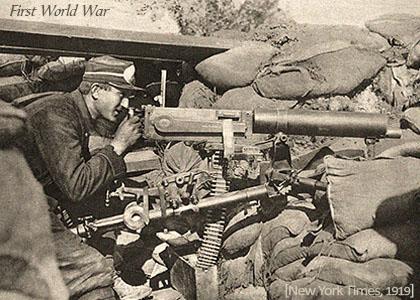 sw Foto: Soldat am Maschinengewehr im Schutz von Sandsäcken - 1919