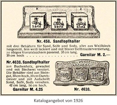 Annonce: Katalogangebot für Sandtopfhalter - 1926