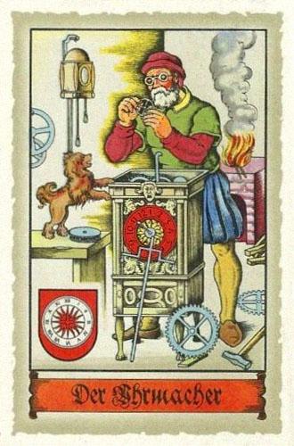 Sammelbild: Uhrmacher ~1575 arbeitet an hüfthoher Räderuhr - 1934