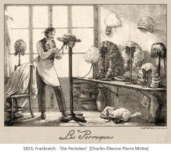 Litho: Perückenmacher arbeitet umgeben von vielen Perücken - 1823, Frankreich