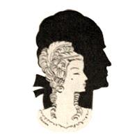 Zeichnung: Frauenbüste mit Perücke vor Männerkopf-Silhouette