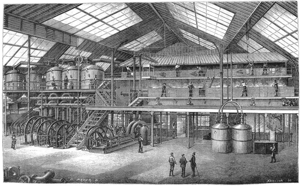 sw-Stich: Blick in eine Zuckerrübenfabrik