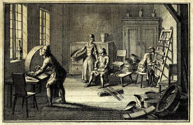 Radierung: vier Siebmacher arbeiten in einem Raum