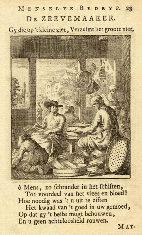 Kupferstich: Siebmacher und niederländischer Text