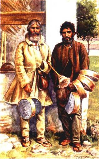 zwei Männer verkaufen runde Siebe