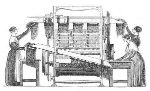 sw-illu: Frauen arbeiten an einer Maschine
