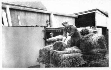 sw-AK: Männer laden Flachsbündel auf