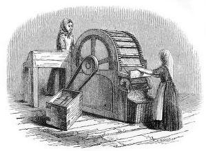 sw-illu: zwei Frauen an einem hölzernen Rad