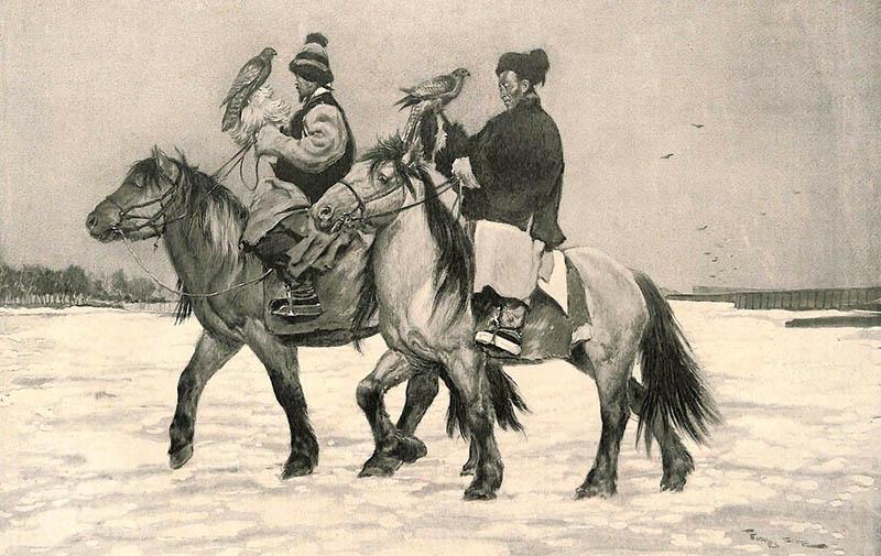 zwei Männer mit Falken auf Pferden reitend