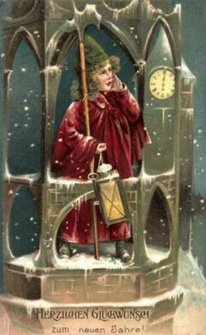 Postkarte: Junge als Nachtwächter
