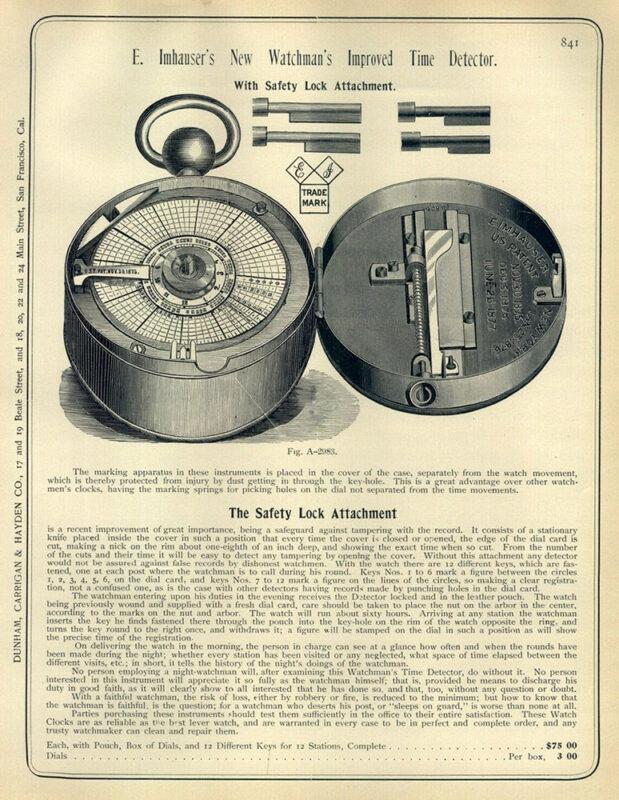 englischer Text mit Beschreibung und Abbildung einer Uhr
