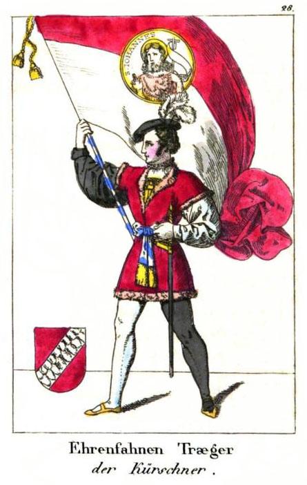 kolorierte Zeichnung; Mann in Kostüm mit großer Fahne