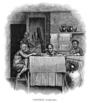 sw-Zeichnung: Schneider in Stube