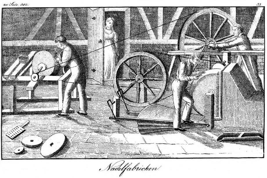 Lithografie: 3 Männer arbeiten in Nadellfabrik