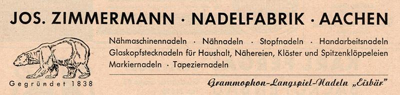 Reklame für Nadeln aller Arten