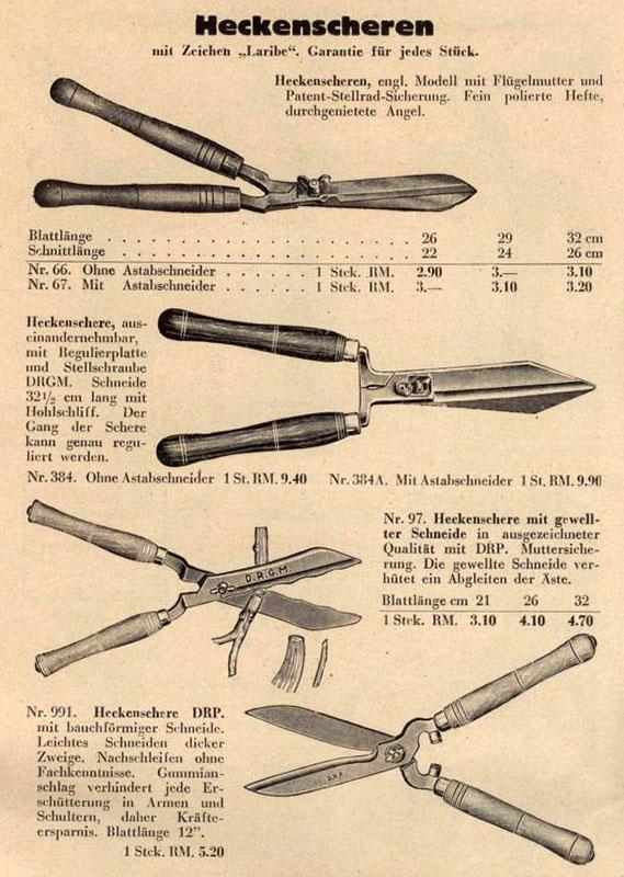 alte Katalogseite mit Heckenscheren