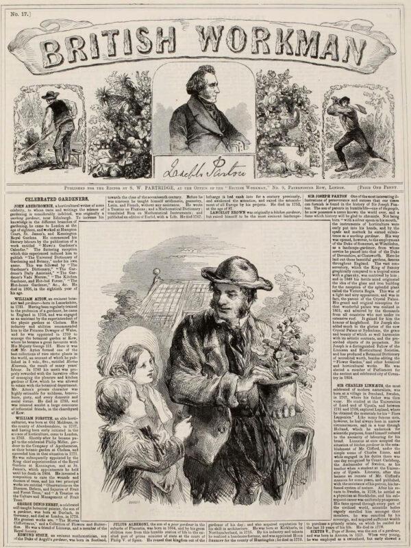 Gärtner umringt von zwei Kinder - Zeitungsartikel