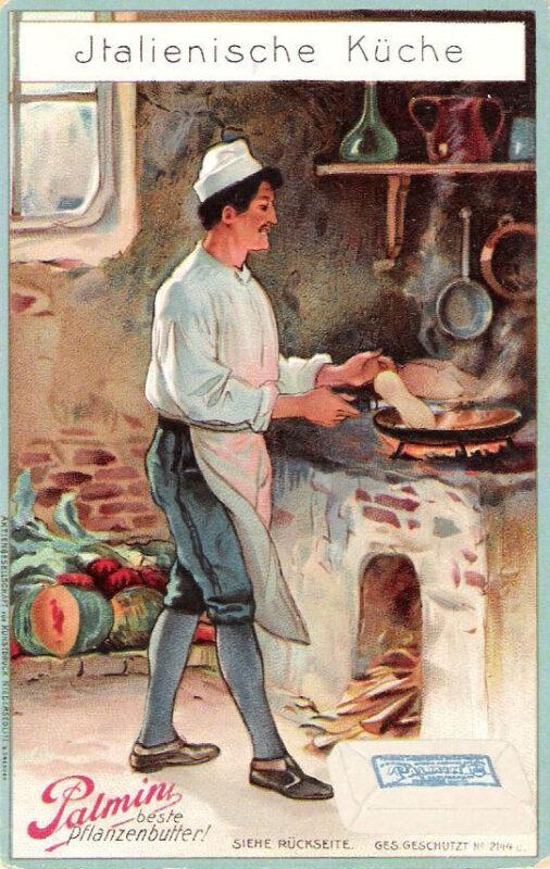 Sammelbild: Koch beim Bereiten von einer Speise