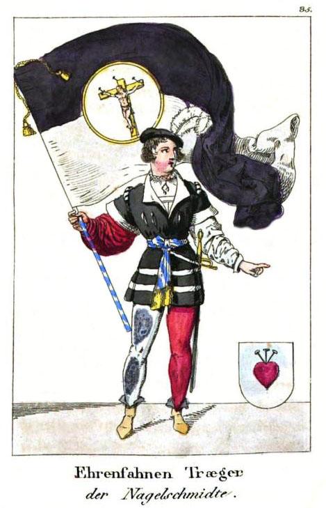 kolorierte Zeichnung: Mann in Kostüm mit großer Fahne