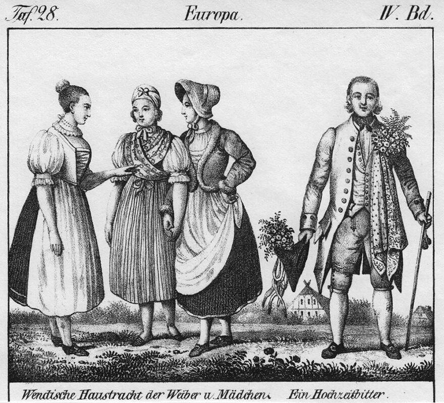 Zeichnung: drei Frauen und ein Mann in Trachten