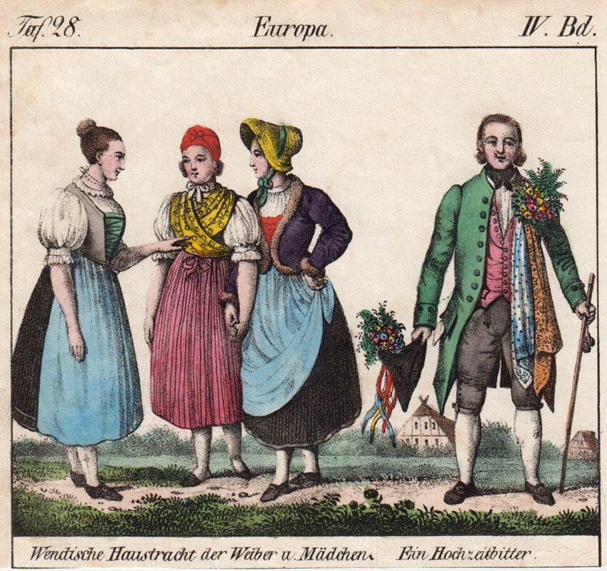 kolorierte Zeichnung: drei Frauen und ein Mann in Trachten