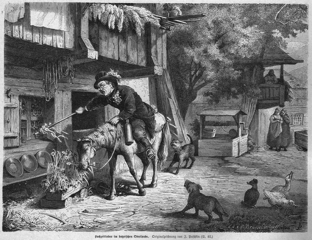 Mann auf kleinem Pferd klopft mit Stab an Fenster eines Hauses