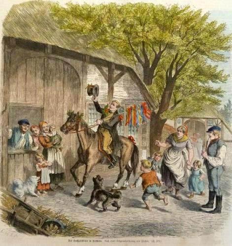 farbige Zeichnung: Mann auf Pferd lädt zur Hochzeit ein