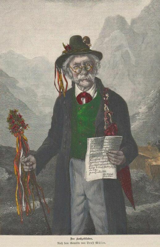 alter Mann mit Hut, geschmückt
