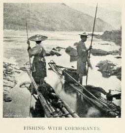altes sw_Foto: zwei Fischer, die mit Kormoranen fischen