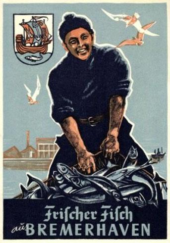 AK. Fischer mit seinem Fischfang